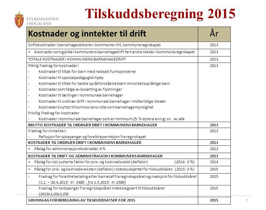 Tilskuddsberegning 2015 Kostnader og inntekter til drift År