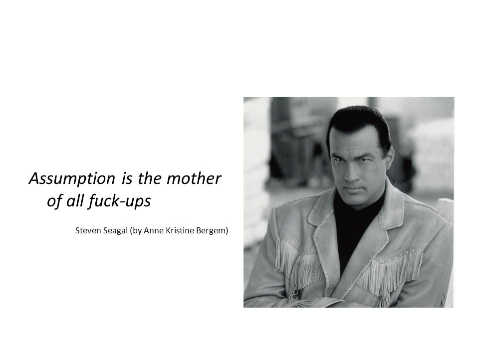 Assumption is the mother of all fuck-ups Steven Seagal (by Anne Kristine Bergem)