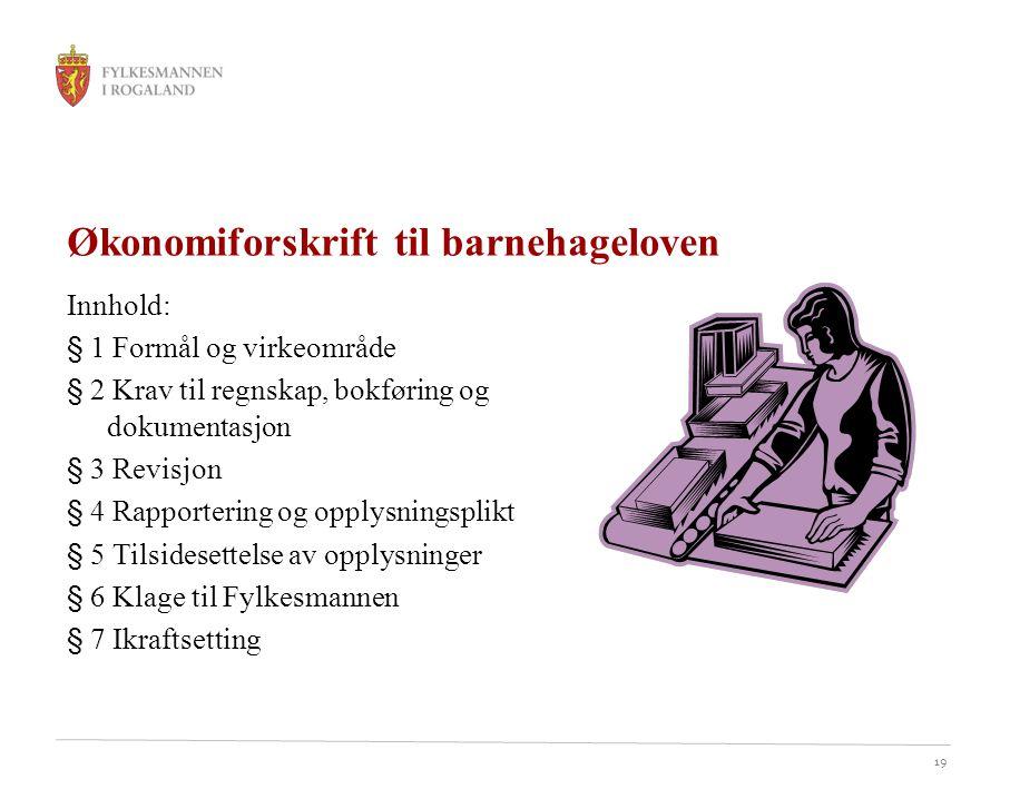 Økonomiforskrift til barnehageloven