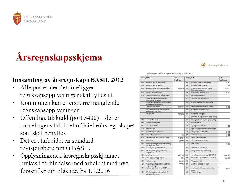 Årsregnskapsskjema Innsamling av årsregnskap i BASIL 2013