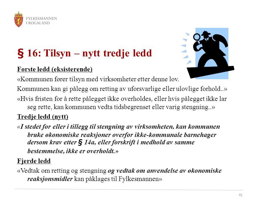 § 16: Tilsyn – nytt tredje ledd