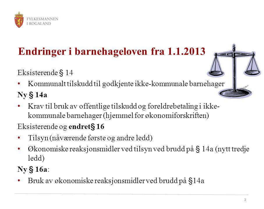 Endringer i barnehageloven fra 1.1.2013
