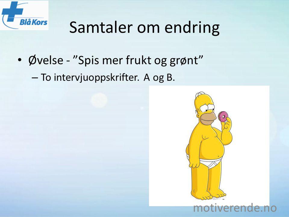 Samtaler om endring Øvelse - Spis mer frukt og grønt motiverende.no