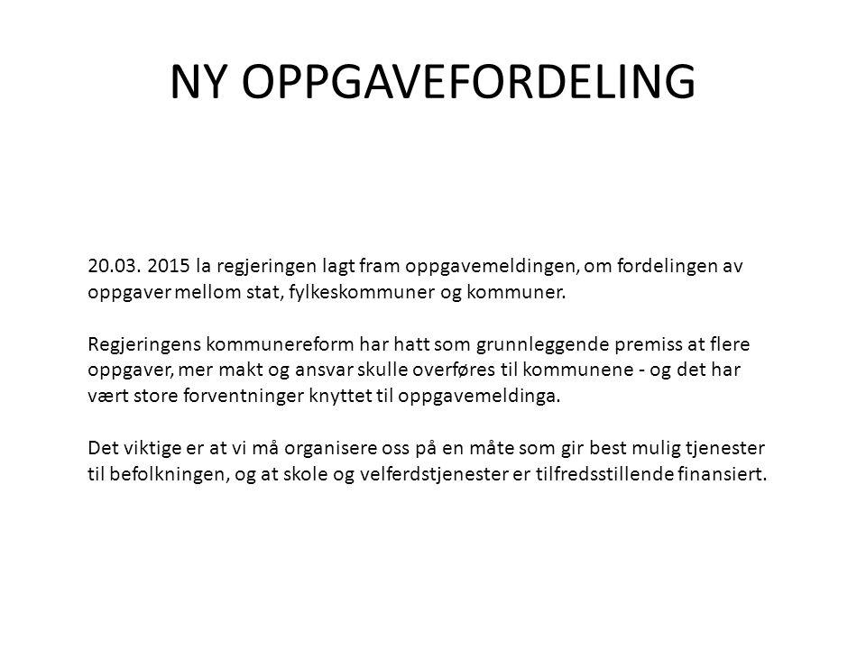 NY OPPGAVEFORDELING 20.03. 2015 la regjeringen lagt fram oppgavemeldingen, om fordelingen av oppgaver mellom stat, fylkeskommuner og kommuner.