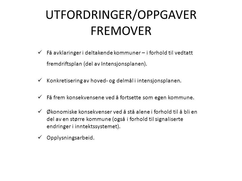 UTFORDRINGER/OPPGAVER FREMOVER