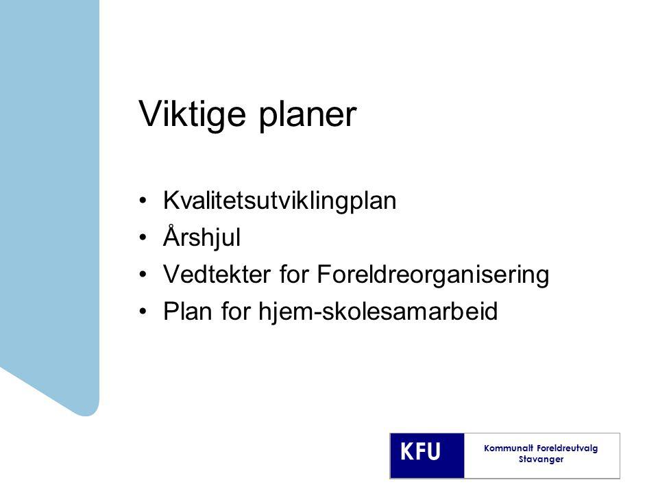 Viktige planer Kvalitetsutviklingplan Årshjul