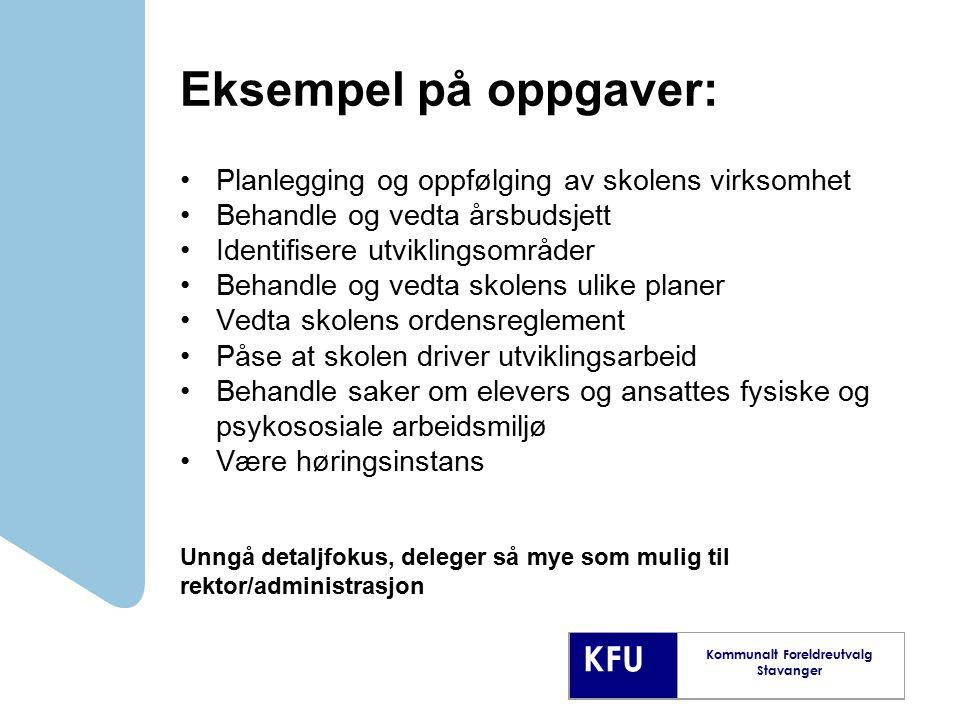 Eksempel på oppgaver: Planlegging og oppfølging av skolens virksomhet