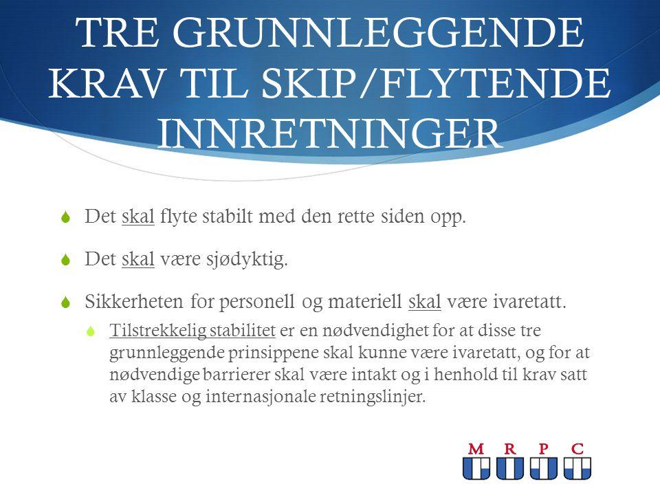 TRE GRUNNLEGGENDE KRAV TIL SKIP/FLYTENDE INNRETNINGER