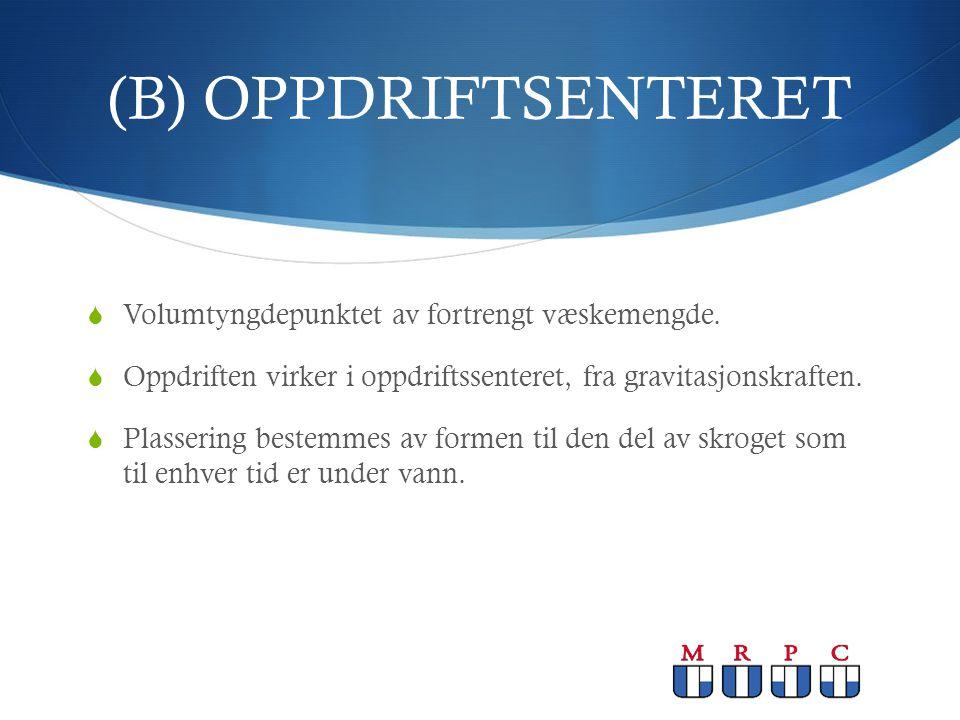 (B) OPPDRIFTSENTERET Volumtyngdepunktet av fortrengt væskemengde.
