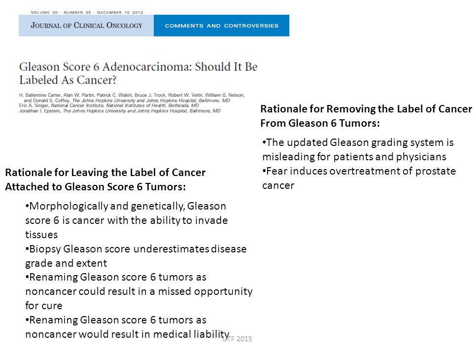 Rationale for Removing the Label of Cancer From Gleason 6 Tumors: