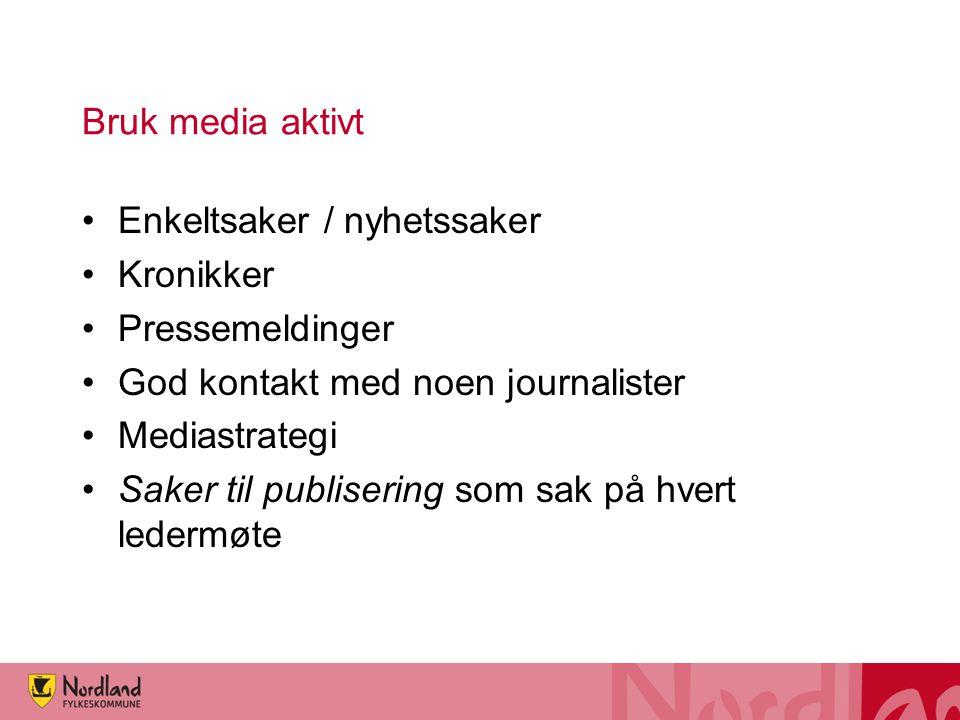 Bruk media aktivt Enkeltsaker / nyhetssaker. Kronikker. Pressemeldinger. God kontakt med noen journalister.