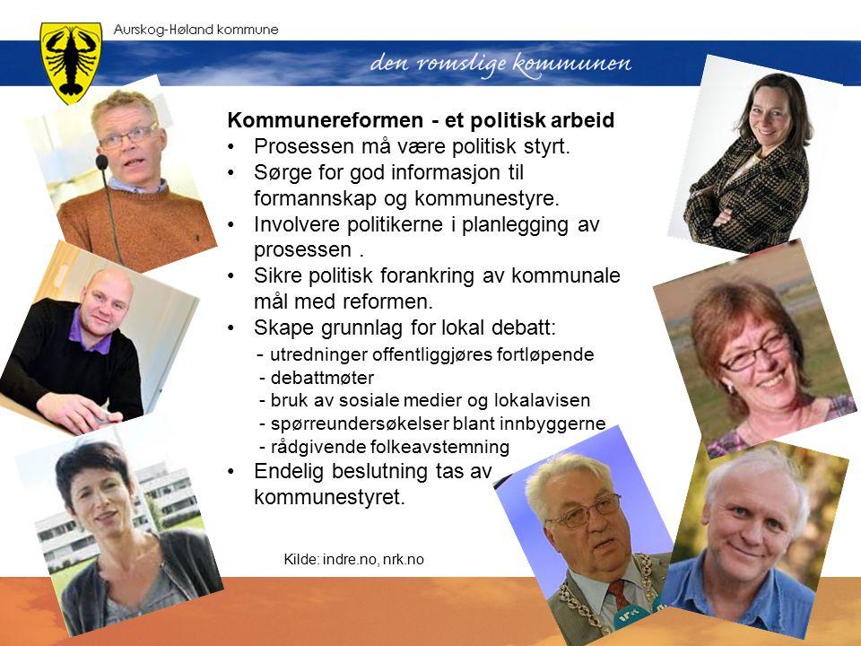 Kommunereformen - et politisk arbeid Prosessen må være politisk styrt.