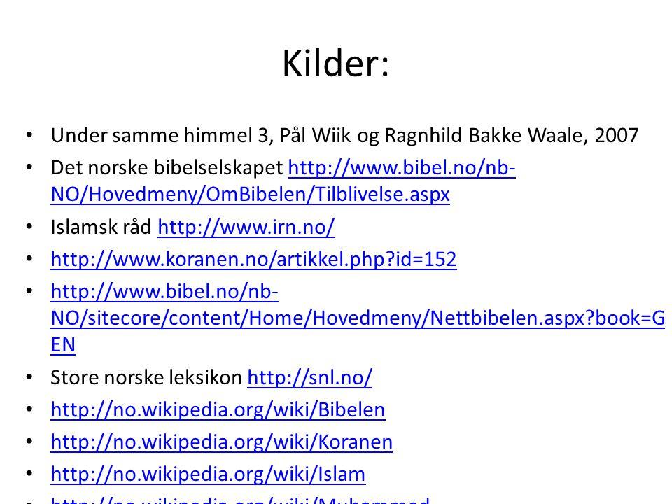 Kilder: Under samme himmel 3, Pål Wiik og Ragnhild Bakke Waale, 2007