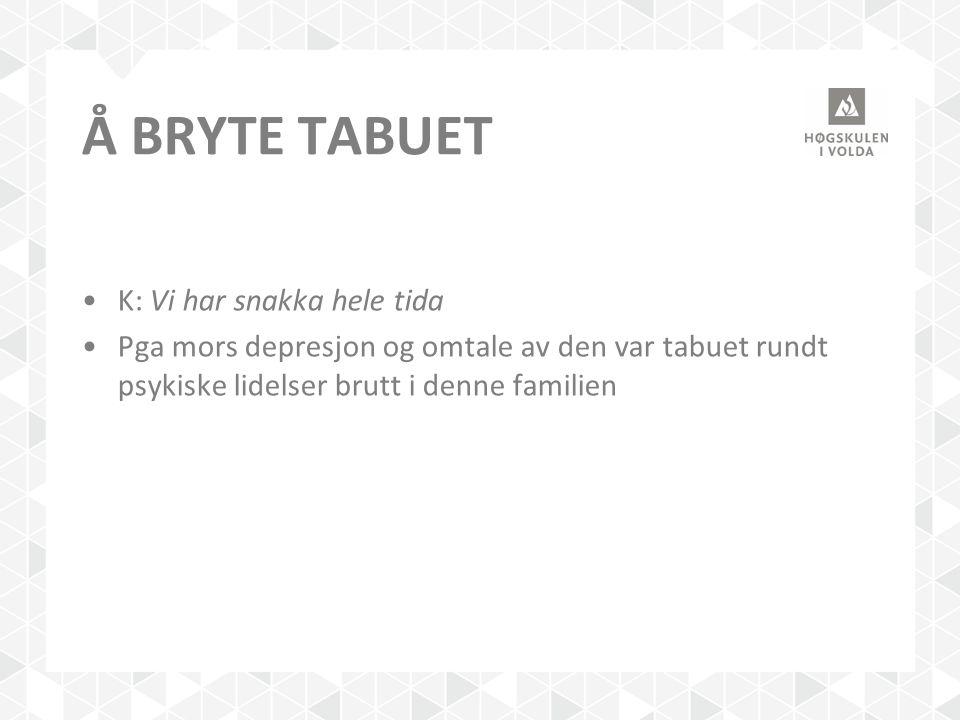 Å Bryte tabuet K: Vi har snakka hele tida