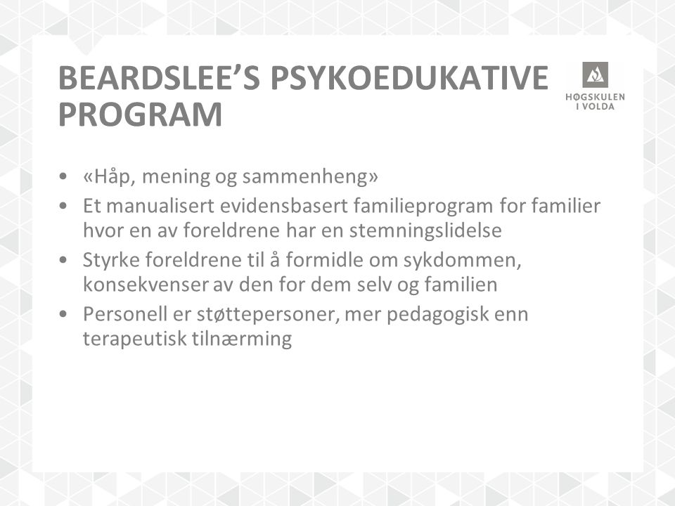 Beardslee's psykoedukative program