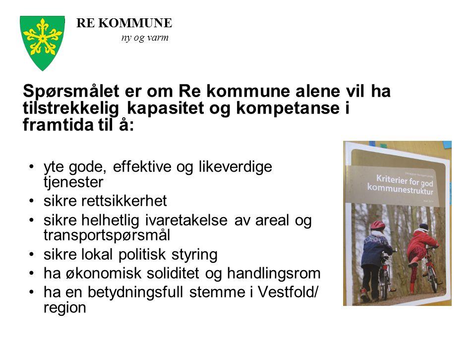 Spørsmålet er om Re kommune alene vil ha tilstrekkelig kapasitet og kompetanse i framtida til å: