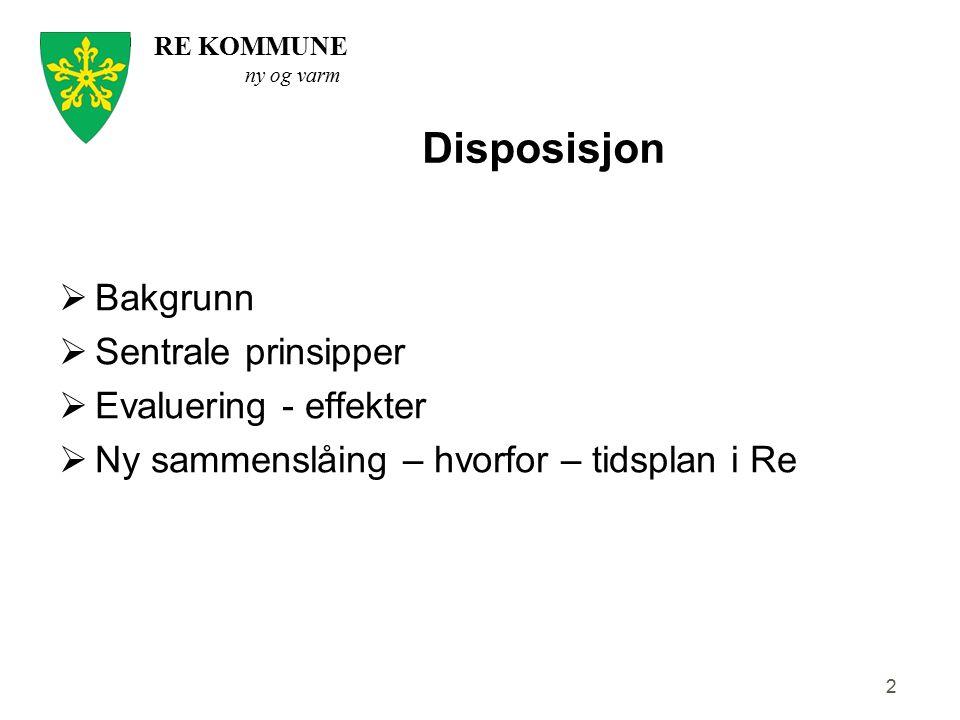 Disposisjon Bakgrunn Sentrale prinsipper Evaluering - effekter