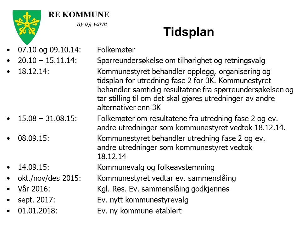 Tidsplan 07.10 og 09.10.14: Folkemøter