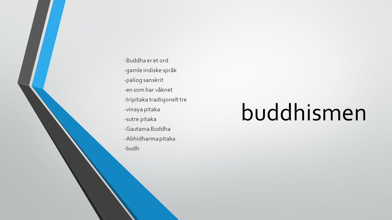 buddhismen -Buddha er et ord -gamle indiske språk -paliog sanskrit