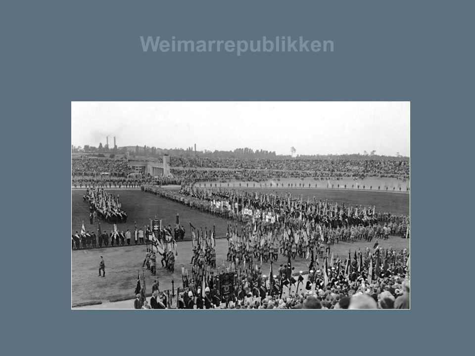 Weimarrepublikken Parade. Stahlhelm, en tysk paramilitær organisasjon i mellomkrigstiden.