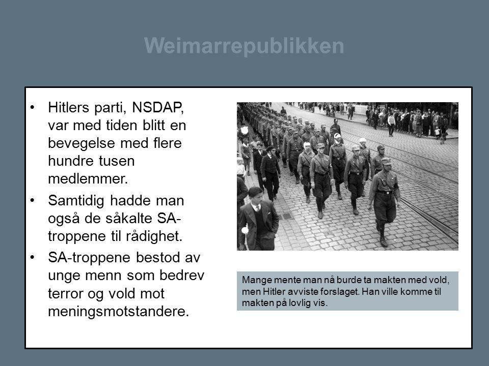Weimarrepublikken Hitlers parti, NSDAP, var med tiden blitt en bevegelse med flere hundre tusen medlemmer.