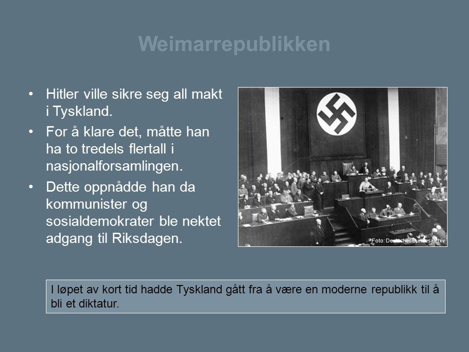 Weimarrepublikken Hitler ville sikre seg all makt i Tyskland.