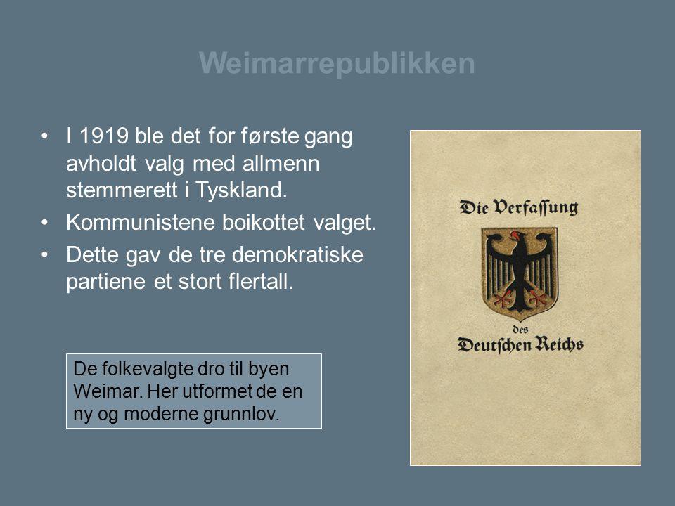 Weimarrepublikken I 1919 ble det for første gang avholdt valg med allmenn stemmerett i Tyskland. Kommunistene boikottet valget.