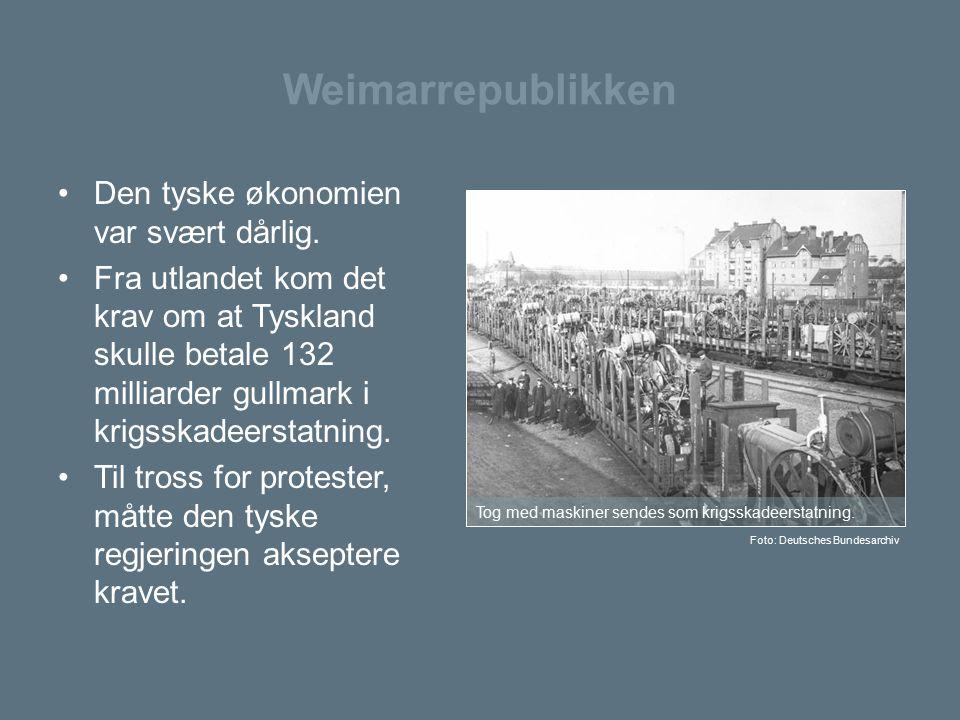 Weimarrepublikken Den tyske økonomien var svært dårlig.