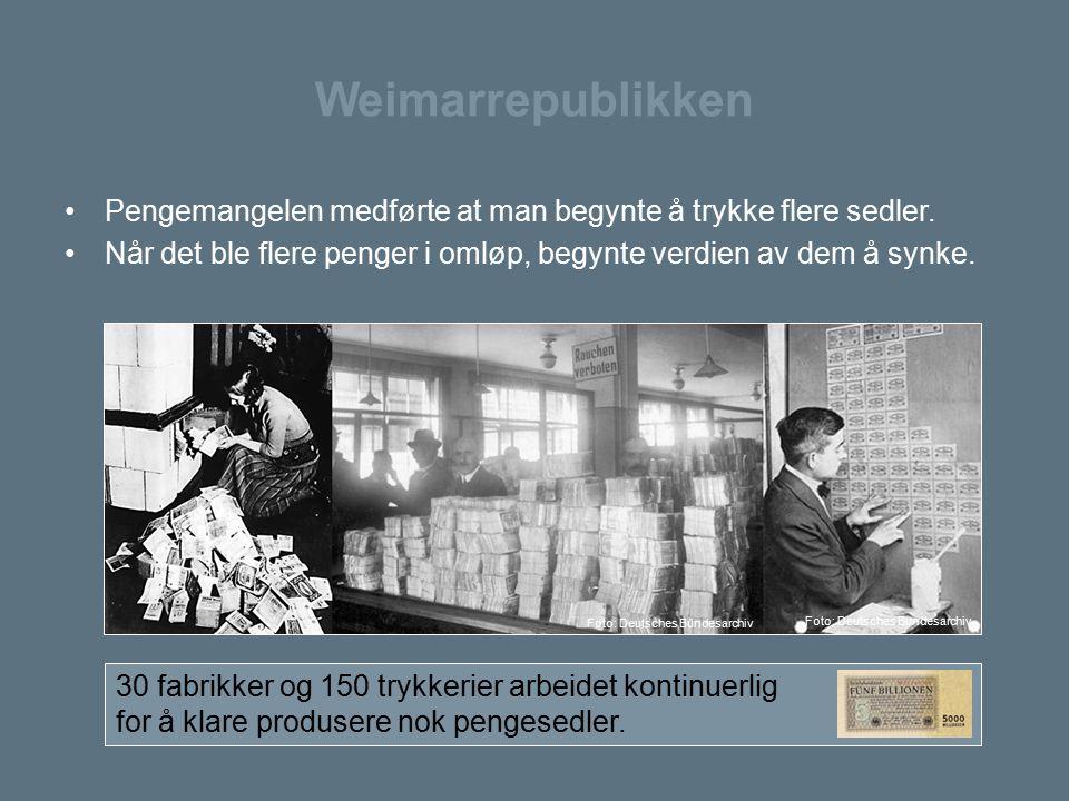 Weimarrepublikken Pengemangelen medførte at man begynte å trykke flere sedler. Når det ble flere penger i omløp, begynte verdien av dem å synke.