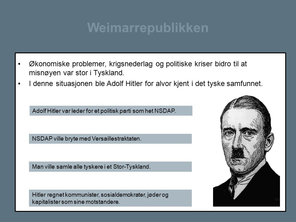Weimarrepublikken Økonomiske problemer, krigsnederlag og politiske kriser bidro til at misnøyen var stor i Tyskland.