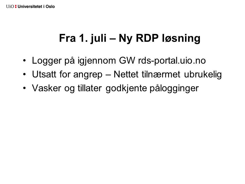 Fra 1. juli – Ny RDP løsning