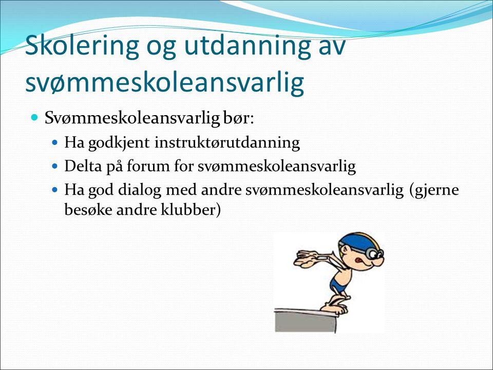 Skolering og utdanning av svømmeskoleansvarlig