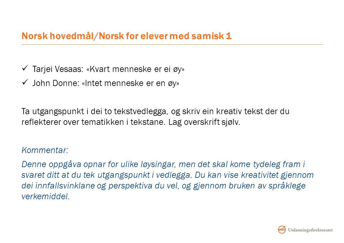 Norsk hovedmål/Norsk for elever med samisk 1