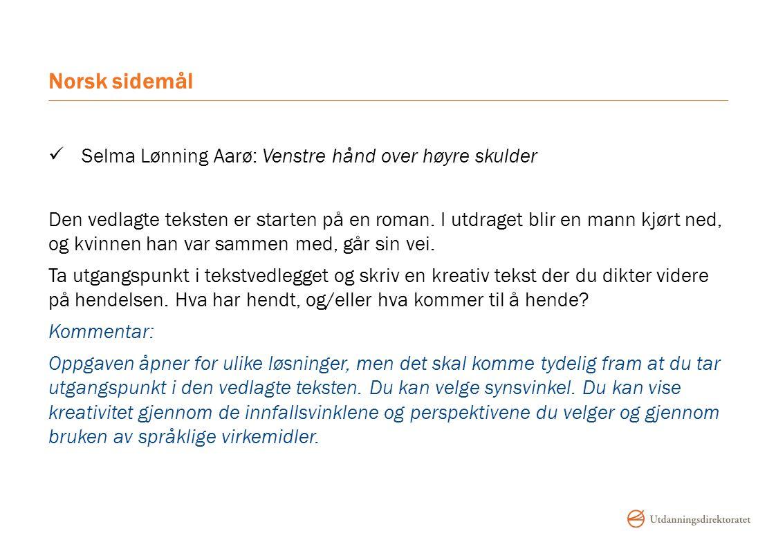 Norsk sidemål Selma Lønning Aarø: Venstre hånd over høyre skulder