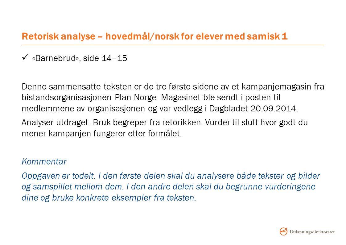 Retorisk analyse – hovedmål/norsk for elever med samisk 1