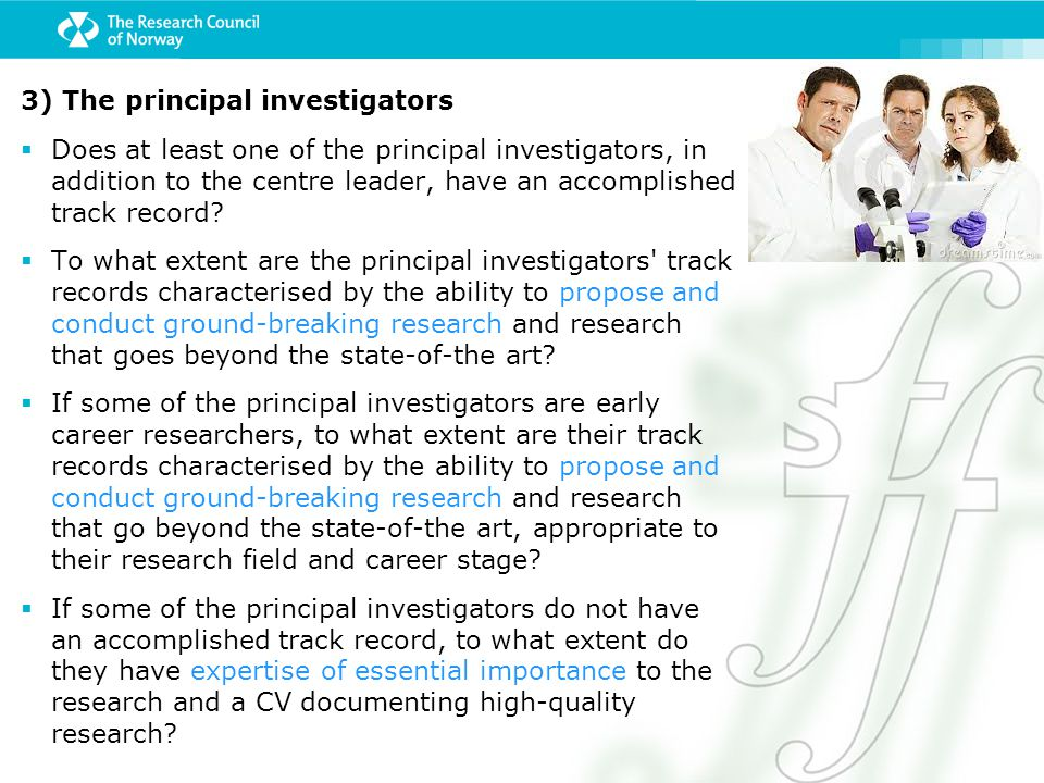 3) The principal investigators
