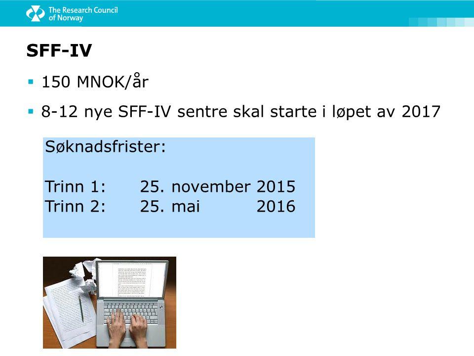 SFF-IV 150 MNOK/år 8-12 nye SFF-IV sentre skal starte i løpet av 2017