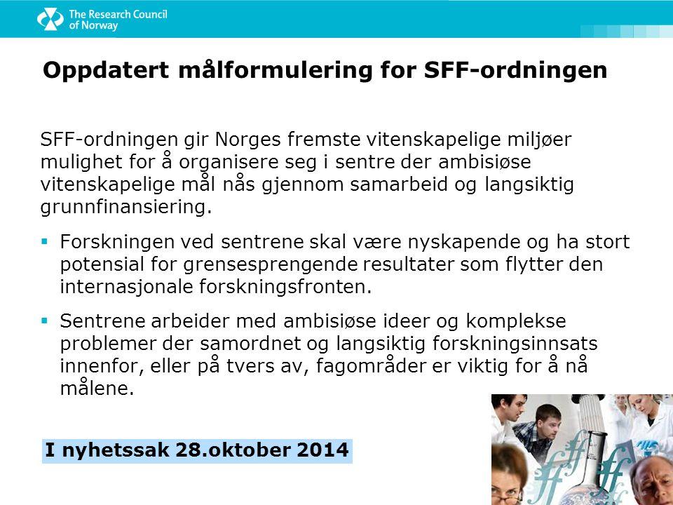 Oppdatert målformulering for SFF-ordningen