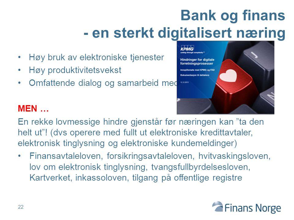 Bank og finans - en sterkt digitalisert næring