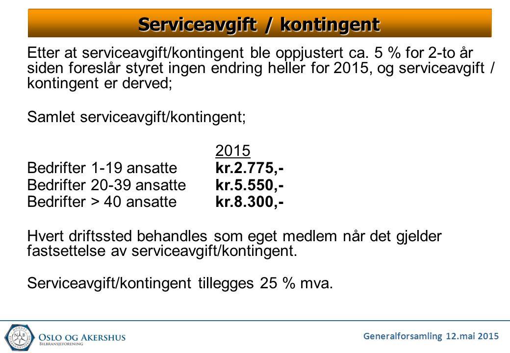 Serviceavgift / kontingent