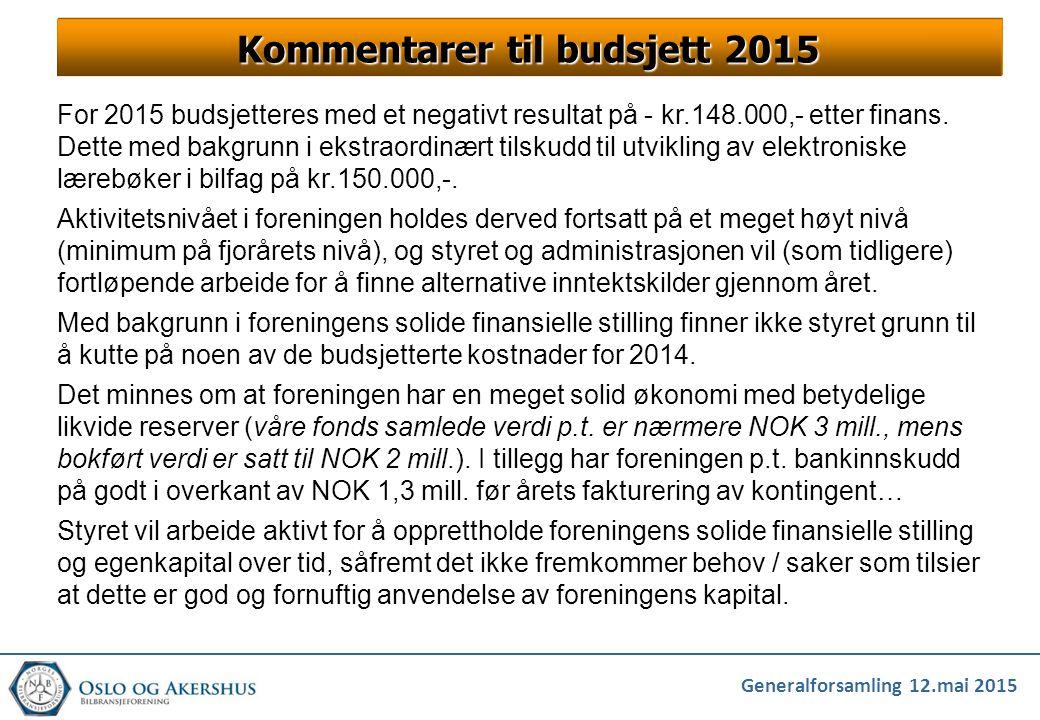 Kommentarer til budsjett 2015