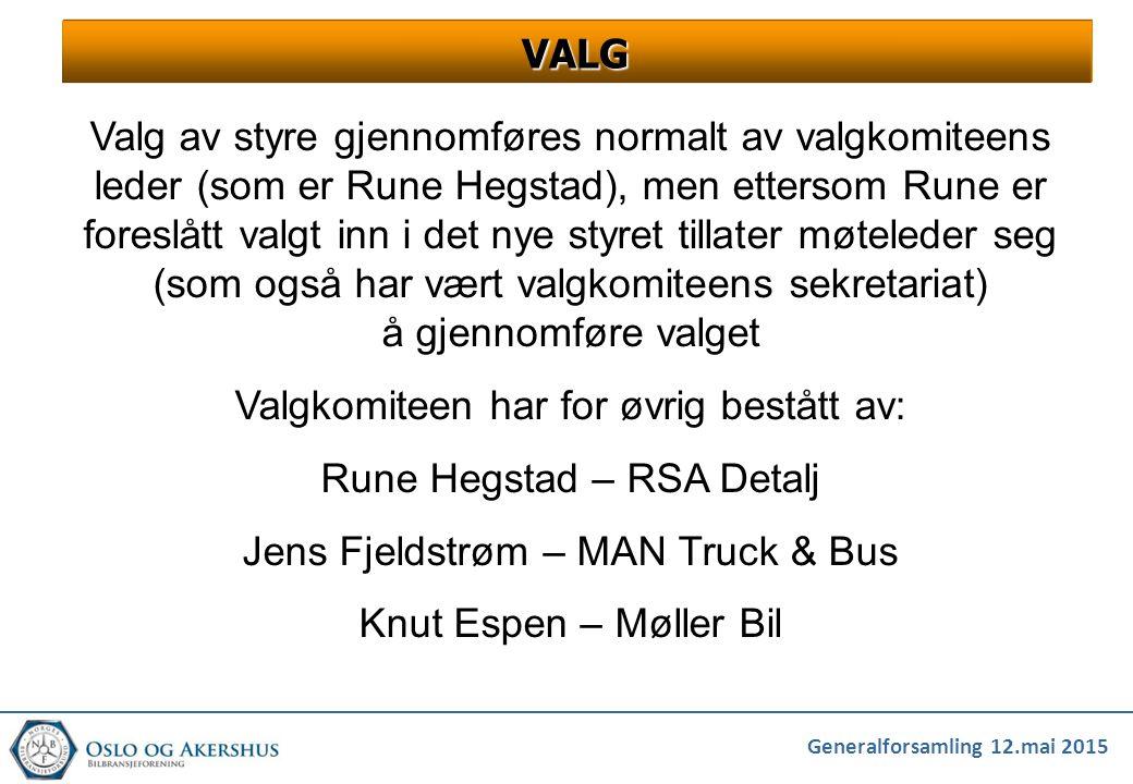 Valgkomiteen har for øvrig bestått av: Rune Hegstad – RSA Detalj