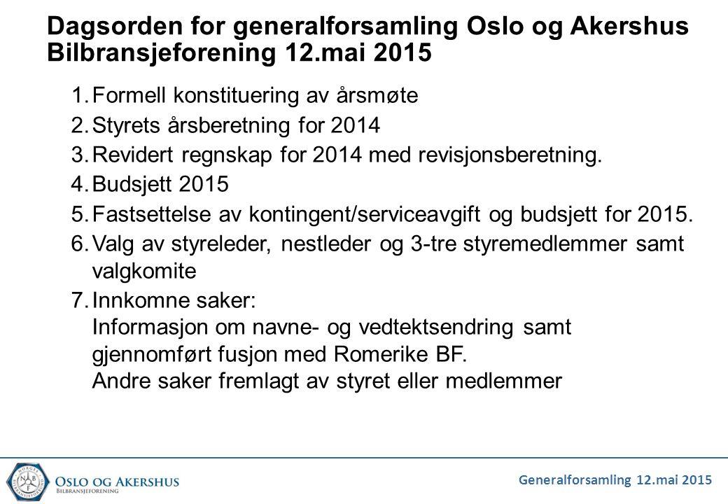 Dagsorden for generalforsamling Oslo og Akershus Bilbransjeforening 12