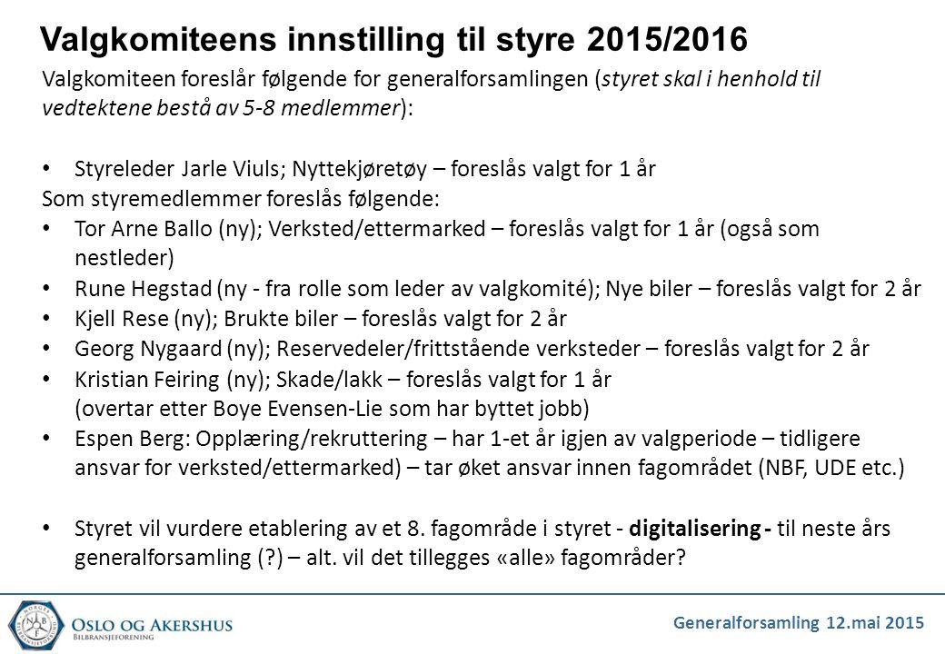 Valgkomiteens innstilling til styre 2015/2016