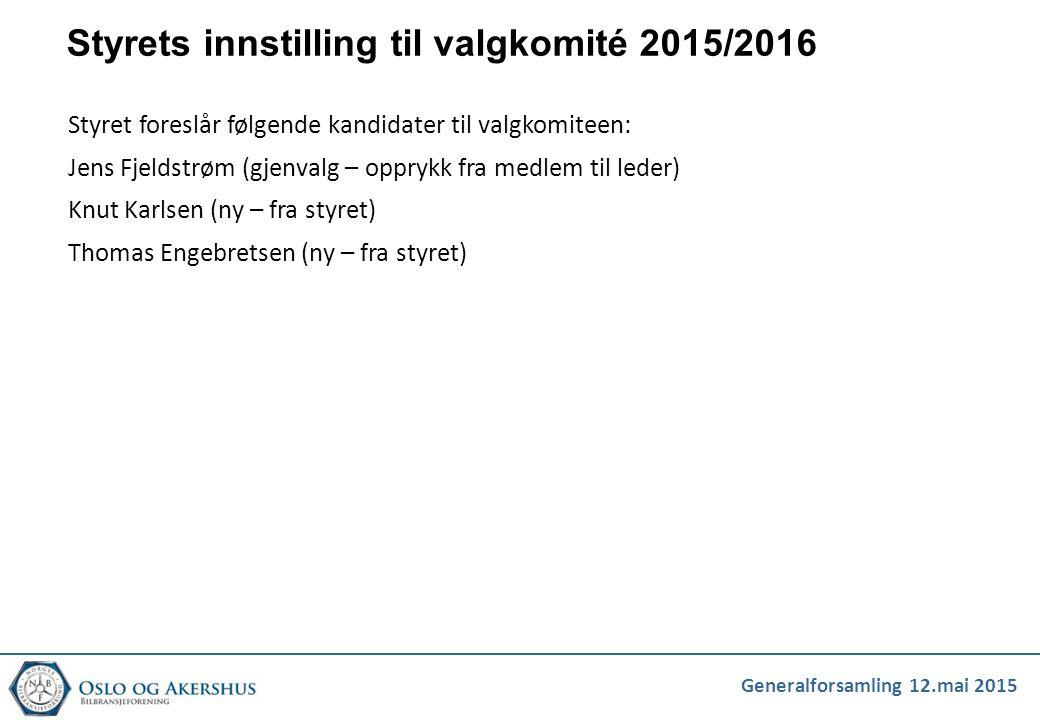 Styrets innstilling til valgkomité 2015/2016