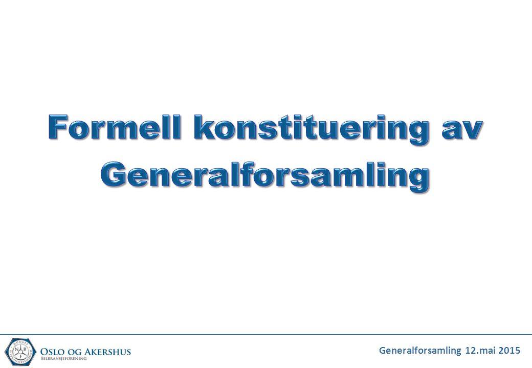 Formell konstituering av Generalforsamling
