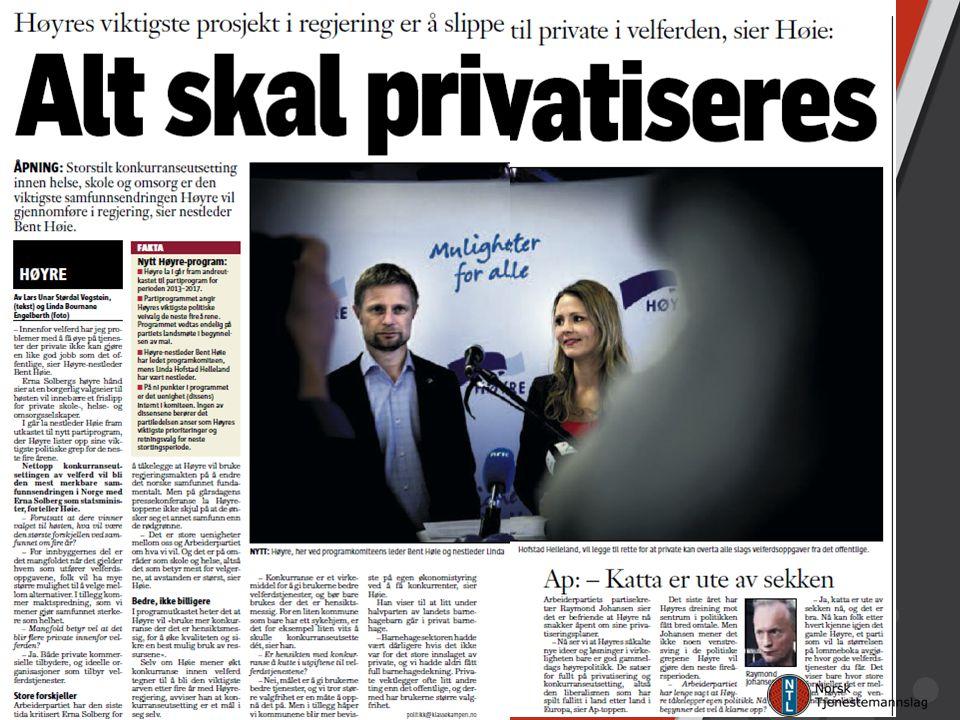 Nestleder i Høyre og helseminister Bent Høie sier det her: Konkurranseutsetting og privatisering innen helse, skole og omsorg er den viktigste samfunnsendringen Høyre vil gjennomføre i regjering.