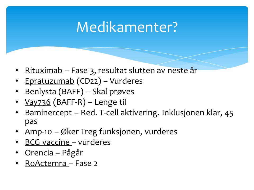 Medikamenter Rituximab – Fase 3, resultat slutten av neste år