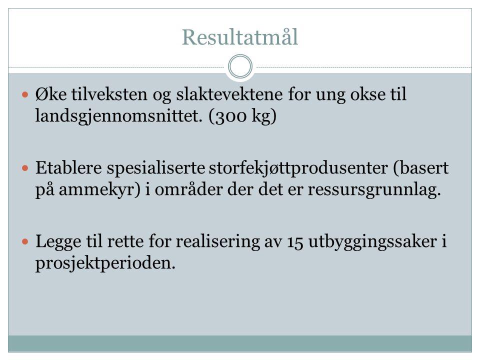 Resultatmål Øke tilveksten og slaktevektene for ung okse til landsgjennomsnittet. (300 kg)