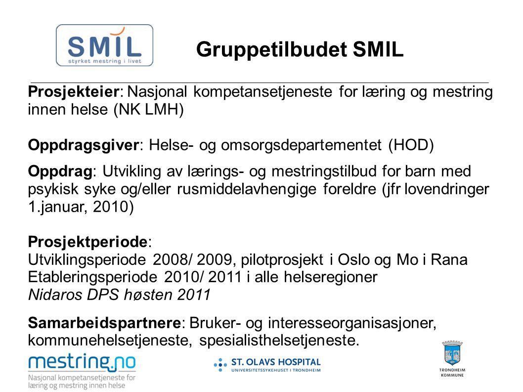 Gruppetilbudet SMIL Prosjekteier: Nasjonal kompetansetjeneste for læring og mestring innen helse (NK LMH)